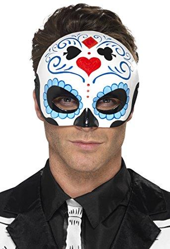 Smiffys, Herren Tag der Toten Halbe Augenmaske, One Size, Blue, (Herren Halloween Kostüme Machen Zu Einfach)
