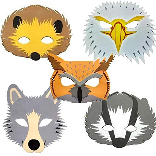 Blue Frog Toys 5 Kinder Schaumstoff-Masken, Fuchs, Igel, Dachs, Wolf & Eule