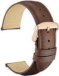 WOCCI 20mm Cinturino in Pelle Retrò con Fibbia in Oro Rosa per Oro Rosalogio, Cinturini di Ricambio, Marrone Scuro