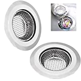 GreeSuit 2Pcs Sink Drain Filter Stainless Steel Sink Metal Strainer Bath Basin Plughole Filter for Kitchen Bathroom 11.5cm /4.5 Inches Diameter