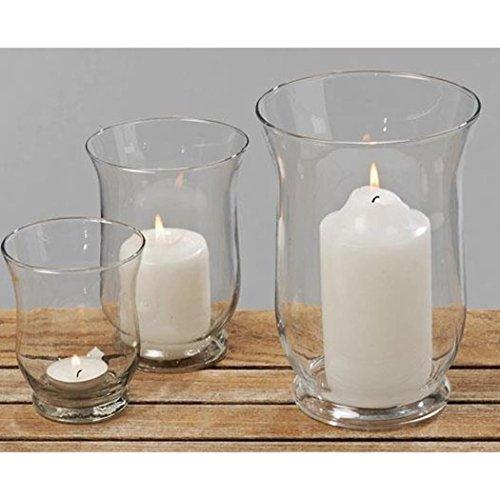 Windlicht, Kerzenglas 3er-Set aus Glas, rund, verschiedene Größen, Höhe ca. 11 cm, 15 cm, und 20 cm