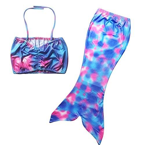 PePeng- Costume da bagno per bambine 4 – 10 anni, 2 pezzi, motivo sirenetta Size 110 (Recommended 4-5 Years)