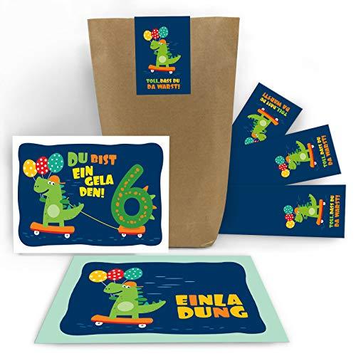 (12 Einladungskarten 6. Geburtstag Kinder Jungen Jungs Dinosaurier Dino sechste Kindergeburtstag incl. 12 Umschläge, 12 Tüten / Natur, 12 Aufkleber)