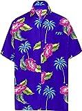 LA LEELA Shirt Camicia Hawaiana Uomo XS - 5XL Manica Corta Hawaii Tasca-Frontale Stampa Hawaiano Casuale Regular Fit Rosa 4XL