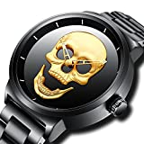 Herren Großes Gesicht Uhren Schwarz Männer Luxus Einfacher Designer Armbanduhr Edelstahlband 30M Wasserdicht Analog Quartz Geschäft Lässig Uhr Gold Dial