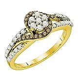 0,57Karat (ctw) Weiß/Cognac, 10K Gelbgold Diamant-Ring mit Schaft mit Einsatz 1/2ct
