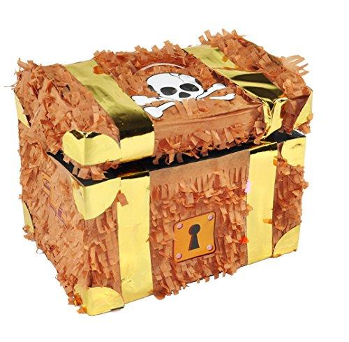 (Trendario Pinata Schatztruhe - Ideal zum Befüllen mit Süßigkeiten und Geschenken - Piñata Schatzkiste für Kindergeburtstag Spiel)