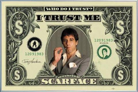 1art1 Scarface Poster und Kunststoff-Rahmen - Dollar Bill (91 x 61cm)