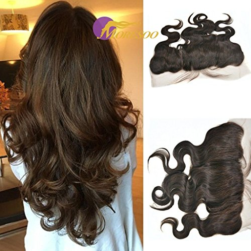 Moresoo 16 pouces Ondule/Body Wave Bresilienne Humains Cheveux Ear to Ear Dentelle Frontal Tissage Vierge Hair Raides Lace Frontale Bleached Knots avec Bebe Cheveux #2