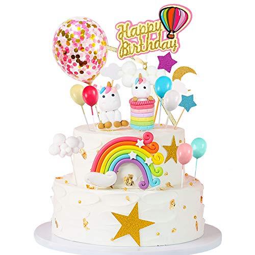 MMTX Décoration Gâteau Licorne Anniversaire Deco Gateau Fille Licorne d'anniversaire Mariage Baby Shower Parti Décor Pack(15pcs)