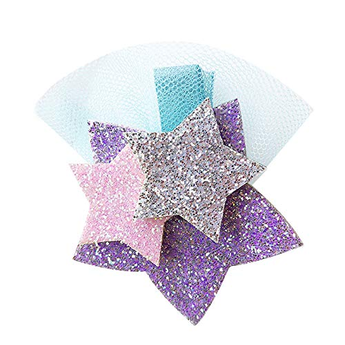 Gulin 1Pcs Cute Glitter Unicorn Hair Clips, Sterne -