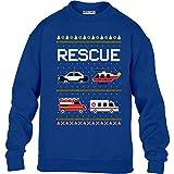 Green Turtle T-Shirts Kids Weihnachtspullover Feuerwehr Polizei Ambulanz Kinder Pullover Sweatshirt S 122/128 Blau