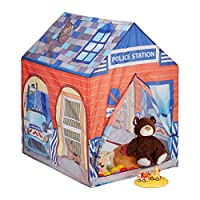 Relaxdays Police Station Play Tent for Children, Outdoors, 3 and Up, Fabric Kids Playpen HWD 102 x 72 x 95 cm, Blue-Red