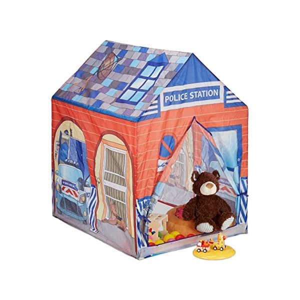 Relaxdays Police Station Play Tent for Children, Outdoors, 3 and Up, Fabric Kids Playpen HWD 102 x 72 x 95 cm, Blue-Red Relaxdays Large: This red and blue play tent with 2 entries measures H x W x D app. 102 x 72 x 95 cm With print: Police station tent - Print with police car and dog - Perfect for playing detective Lots of fun: The non-toxic play tent provides loads of fun for kids aged 3 and up 1