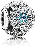 Pandora Charm 791760NBLMX Sterling-Silber, Kristall Blau