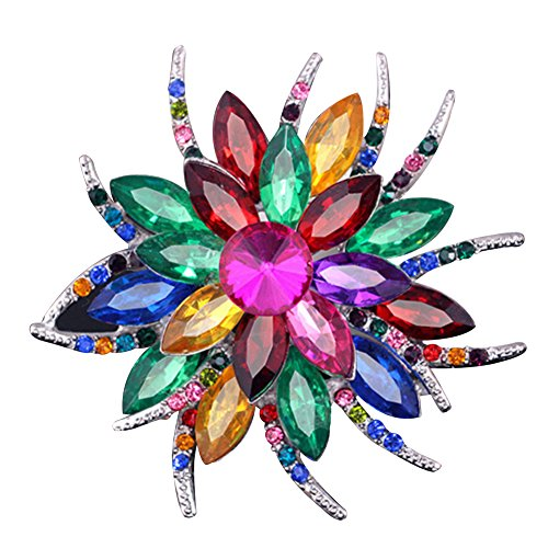 SANWOOD® Wedding Bridal Large Flower Rhinestone Scarf Brooch Broach Pin Crystal Breastpin Jewelry (MultiColor)
