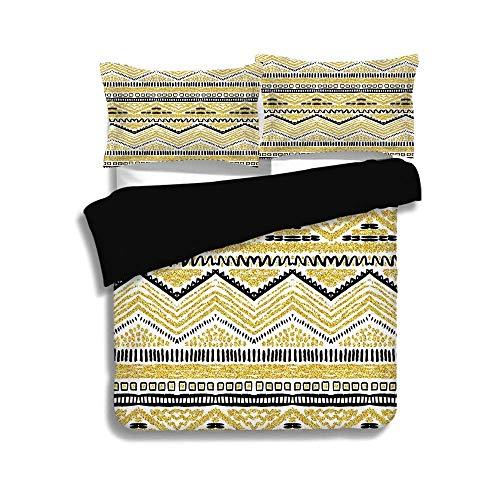 Schwarzer Bettbezug-Set, Gold und Weiß, Sandschein-Design mit Zickzacklinien Streifen Chevron Ethnic Image, Gelb Schwarz und Weiß, Dekoratives 3-teiliges Bettwäscheset von 2 Pillow Shams, TWIN-Größe (Twin Bettwäsche Für Mädchen Chevron)