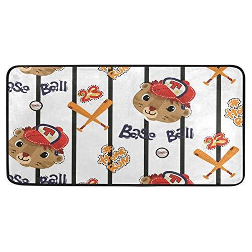 FANTAZIO Cartoon Baseball Katzenbereich Teppich Anti-Rutsch-Fußmatte Fußmatte Fußmatten für drinnen und draußen, 99 x 51 cm - Baseball-bürostuhl
