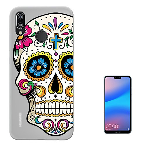 c00858 - Cool Funny Mexican Sugar Skull Flower Cross Tattoo Design Huawei P20 lite 5.84