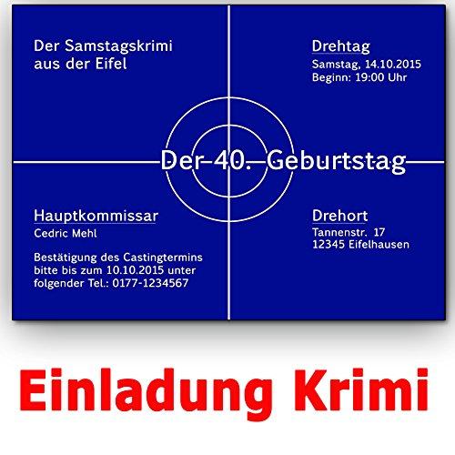 Einladungskarten Krimi Ideal für Mottoparty Tatort Einladung Geburtstag (50 Stück)