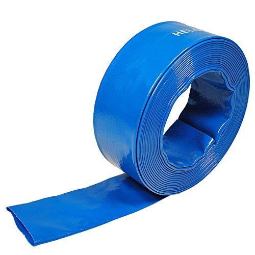 Helo Flachschlauch 25 Meter Länge mit 1 Zoll (25mm) Durchmesser, robuster Entwässerungsschlauch aus PVC Spezialgewebe mit Polyestereinlage für freien Wasserdurchlauf (Schlauch ohne Kupplung)