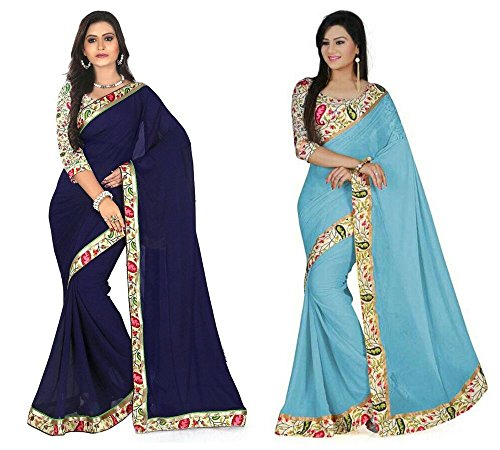 RoopSangam Saree Exclusive Combo Of Plain Chiffon Lacy Border Sarees (Navy Blue & Light Blue)