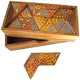 Tridomino - Triomino - Dreieck-Domino - Legespiel - Gesellschaftsspiel aus Holz mit farbigen Punkten