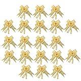 Homyl 20pcs Organza Fertigschleifen Ziehschleifen Set für Geschenkverpackung DIY - Gold, 16 x 23 cm