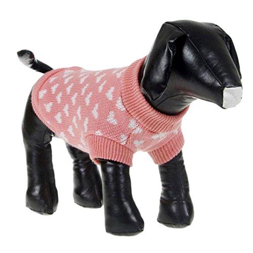 Niedliche rosa Haustier Pullover, Hmeng schöne weiße Herzen Hund Haustier Kleidung Warme Acryl Welpen Kapuzenpullis Pullover plus Größe XS-2XL (S, Rosa) (Größe Plus Kleidung Baumwolle)