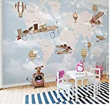 3D Landschaft Tapete Muralworld Karte Flugzeug Feuer Ballon 3D Cartoon Tapete Wandbild Foto Für Kinder Baby Room 3D Cartoon Wandbild Wall Paper Stickers300x210cm
