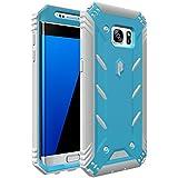 Coque Galaxy S7 Edge – Poetic [Série Revolution] - [Endurant] [Double Couche] Coque Hybride Protection Complète avec Protecteur d'Écran Intégré pour Samsung Galaxy S7 Edge (2016) Noir/Gris (Garantie 3 ans du Manufacturier de Poetic)
