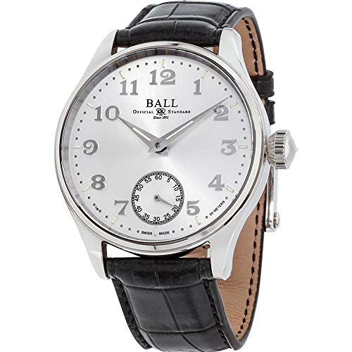 Ball Men's 44mm Black Leather Band Steel Case Mechanical White Dial Analog...