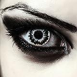 Weiß schwarze farbige Kontaktlinsen für Halloween Walküren Kostüm Farblinsen in weiß schwarz + gratis Kontaktlinsen Behälter Model: Valkyrie