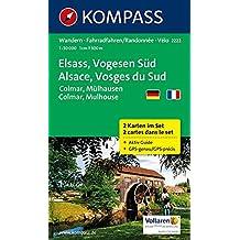 Elsass - Vogesen Süd - Alsace - Vosges du Sud - Colmar - Mülhausen - Mulhouse: Wanderkarten-Set mit Aktiv Guide. GPS-genau. 1:50000 (KOMPASS-Wanderkarten, Band 2222)