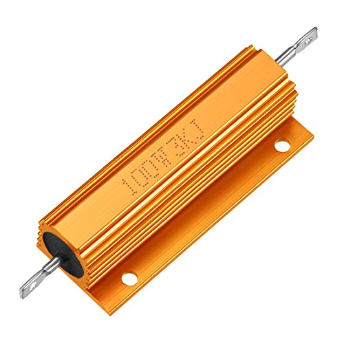 Sourcingmap Aluminium Fall Widerstand 100W 3K Ohm Wirewound Gold für LED Ersatz Konverter 100W 3KRJ