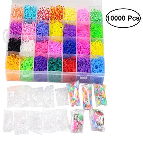 Healifty 10000pcs Rainbow Rubber Loom Band elastische Haarbänder Armband machen Kit für Kinder