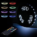 Tingkam® 10 M 32.8 Ft Black PCB 5050 SMD Waterproof IP44 Flexible RGB 300 LED Strip Light Strip Kit + 44 Key Remote Control + Power Adapter EU multi-coloured