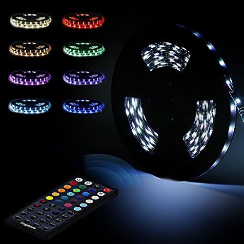 Tingkam® 10m 32.8 ft 5050 SMD wasserdichtes IP44 flexibles RGB 300 LED Streifen Strip Set Lichtstreifen Kit in Schwarz PCB + 44 Tasten Fernbedienung + EU Netzadapter