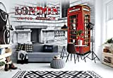 Wallsticker Warehouse Stadt London Telefonzelle Rot Fototapete - Tapete - Fotomural - Mural Wandbild - (3131WM) - XL - 208cm x 146cm - VLIES (EasyInstall) - 2 Pieces