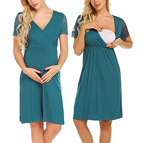7a07be08b STRIR Camisón Lactancia Pijama Embarazada Algodón Ropa para Dormir Premamá  Encaje Manga Corta Hospital Primavera Verano otoño (L