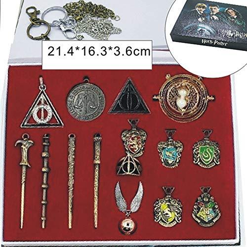 51GSvmPH0tL - EisEyen 15 unids/Set Harry Potter Hermione Dumbledore Voldemort Varita mágica con Caja de Halloween Harri Potter Chico Hogwarts Varita mágica de Regalo (D)