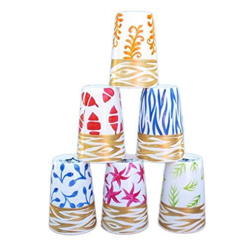 Set di 6 tazzine in porcellana per caffè espresso, dipinti con disegni originali 'Mare'. Coppette in ussuoso cofanetto regalo