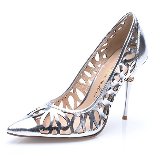 Xueyan High Heel Pointy Leder durchbrochen Licht Low Cut Schuhe, silber (Leder Toe Pointy Schwarz)