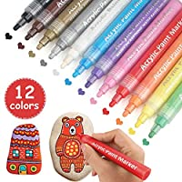 Acrylic Paint Pens, 12 Colours Permanent Reversible Fine tip Art Marker Set Incl. Tweezers for Rock Painting, Ceramic, Wood, Canvas, Glass Painting, Mug Design, Ideal for DIY Arts & Crafts Projects