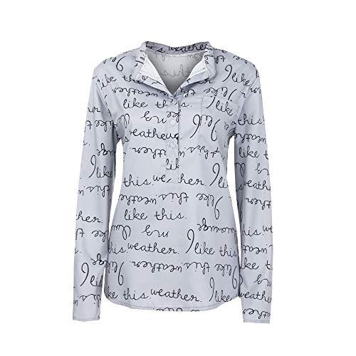 Yvelands Frauen beiläufiges mit Blumen Bedrucktes Knopf-T-Shirt Chiffon Unregelmäßige Rand Spitzen Bluse ... ... (L, Tiefgrau) (Weibliche Zombie Halloween-kostüm Ideen)