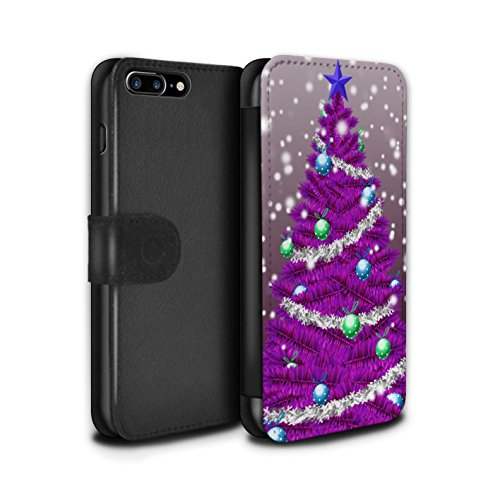 Stuff4 Coque/Etui/Housse Cuir PU Case/Cover pour Apple iPhone 7 Plus / Gris Design / Sapin/Arbre de Noël Collection Violet