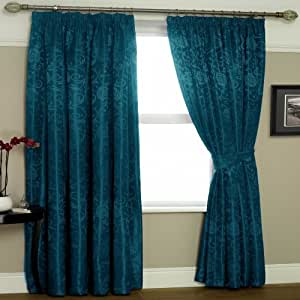 Teal Blue Lined Curtains Eton 90x90 Kitchen Home