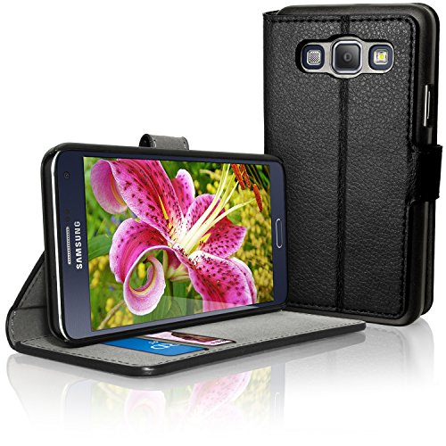 igadgitz Premium Brieftasche Wallet Flip Schwarz PU Ledertasche Schutzhülle für Samsung Galaxy A3 SM-A300F Case Cover Mit Karten Schlitz + Multi-Winkel Betrachtungs + Magnetverschluss + Displayschutzfolie