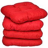 4er Set - Bequemes Stuhlkissen Lisa - 40x40x8 cm - Rot - Besonders stark Gepolstertes, Weiches Sitzkissen in weiteren Farben wählbar