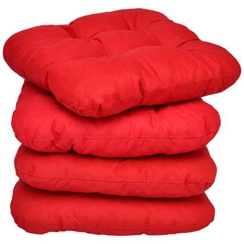 4er Set - Bequemes Stuhlkissen Lisa - 40x40x8 cm - Rot - Besonders stark Gepolstertes, Weiches...